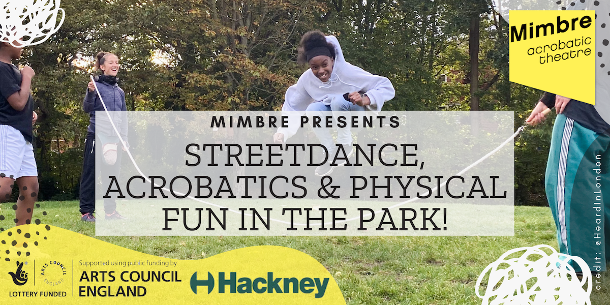 "banner with text ""Streetdance, Acrobatics & Physical Fun In The Park"". There are logos in the corners."